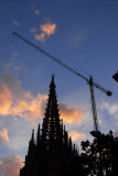 Main spire of Barcelona Cathedral at dusk