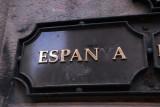 Someone isn't too keen on the Catalan spelling, Via Laietana Espanya instead of España