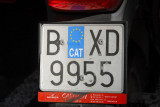 Barcelona license plate with CAT sticker for Catalunya