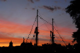 Masts of a tall ship at sunset, Barcelona waterfront