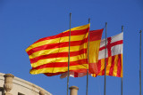 Flags of Catalonia, Spain and Barcelona, Plaça d'Espanya