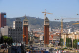Looking back along Av. de la Reina Maria Cristina at the Venetian Towers and Plaça d'Espanya from Montjuïc