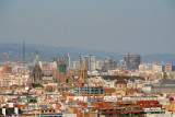 Barcelona Cathedral and city center from Montjuïc