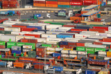 Hundreds of containers on the quai at the Port of Barcelona