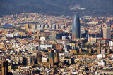 View of Barcelona from Montjuïc with Barcelona Cathedral and Torre Agbar