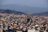View of Barcelona from Montjuïc with Sagrada Família