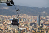 The cable car leading up to Montjuïc Castle from central Barcelona