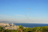 An unexpected surprise, an aerobatic display along the waterfront of Barcelona