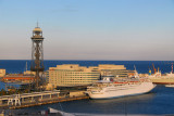 Port Vill with Torre Jaume 1 and the MS Thomson Destiny, Barcelona