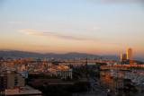 Evening falls over Barcelona, seen from Montjuïc