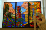 Stained glass windows with a statue of a woman dressing, National Art Museum of Catalonia