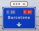 Road sign for Barcelona