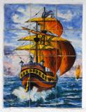 Painted tilework of a sailing ship, Cadaqués
