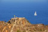 Cap de Creus with sailboat on the Mediterranean Sea