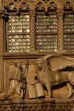 Doge Francesco Foscari (r1423-1457) kneeling before the Lion of St. Mark, tympanum of the Porta della Carta