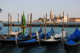 Gondolas tied up along the Molo in front of the Doge's Palace, Venice