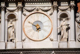 Bartolomeo Monopola's clock above the portico overlooking the Doge's Palace courtyard