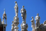 Statues on top of the Foscari Arch representing the Liberal Arts seen from the upper level of the east wing of the Doge's Palace