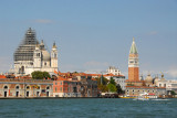 The Campanile of St. Marks and the dome of Santa Maria della Salute from the vaporetto on Canale della Giudecca