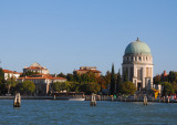 Lido's Votive Temple of Santa Maria Elisabetta (1925) is the most striking feature as the ferry arrives