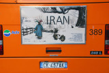 Advertisement on a Venetian bus for an exhibition of Iranian photography