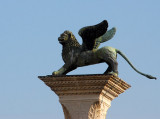 The Lion of St. Mark on top of the column Marco marking the gate to Venice, Piazzetta San Marco