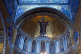 San Marcos Mosaics - St. Mark in ligurgical clothes in the semidome over the main portal, niches contain Apostles & Virgin