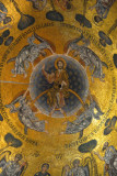 San Marco Mosaics - The Ascension Cupola, Christ seated on a rainbow drawn to Heaven by 4 angels