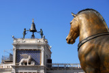 View from the terrace of St. Mark's of the Clock Tower of St. Mark's with one of the four bronze Greek horses (replica)