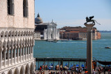 Loggia of the western façade of the Doge's Palace with the Column of St. Mark and S. Giorgio Maggiore