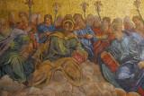 San Marco Mosaic - partial view of the Twelve Apostles (Simon, Thaddeus, Jacob) with angles and lilies
