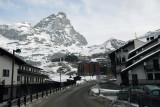 Road through the village of Cervinia, Italy, beneath the Matterhorn