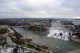 View of the American Falls, Niagara Falls NY and Rainbow Bridge from Skylon Tower