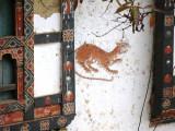 A lucky tiger adorning a house