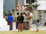 visitors at Khamsum Yuelley Namgyal Chorten