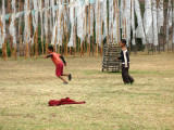 monk novices playing soccer