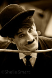 Charlie Chaplin busker with cane
