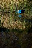 Blue boat at dam