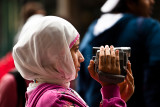Girl in hijab with video cam
