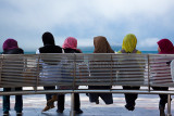 Six Muslim schoolgirls in hijab