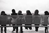 Islamic schoolgirls in hijab in monochrome