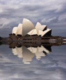 Stormy Sydney Opera House with reflection