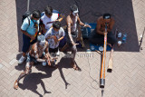 Aboriginal buskers and tourists