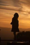 Little girl silhouette at sunset, Blue Mountains