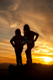Two girls silhouette at sunset in Blue Mountains