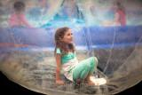 Little girl in a bubble