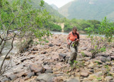 Lelia walks beyond rapids (in  Brazil!)