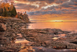 ** 30.4 - Split Rock Lighthouse At Dawn, With Ore Boat Heading Into Silver Bay:  1st Week Oct.