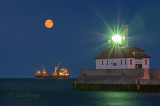 93.62 - Duluth Harbor:  Full Moon, Anchored Ship, And Lighthouse