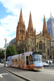 St Pauls Cathedral, Melbourne, and tram.